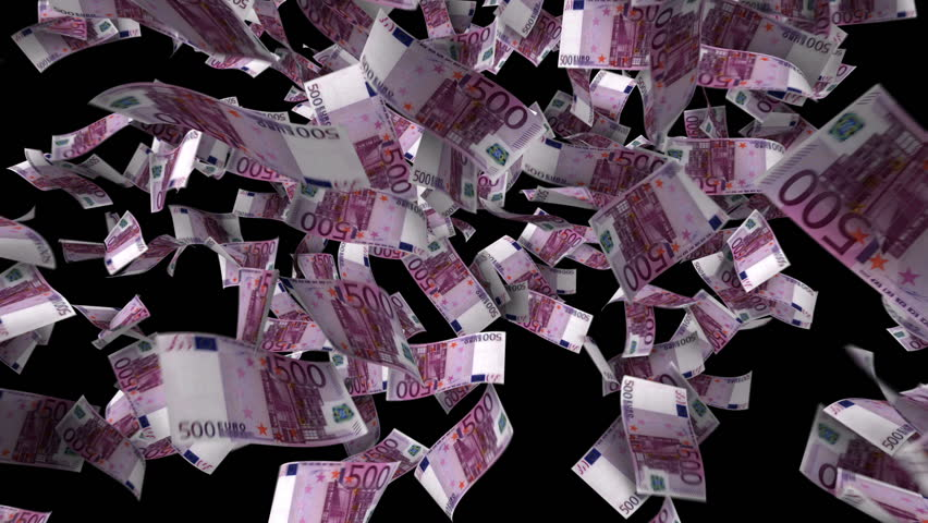 Five hundred euro banknotes explosion, matte  | Shutterstock HD Video #2767322