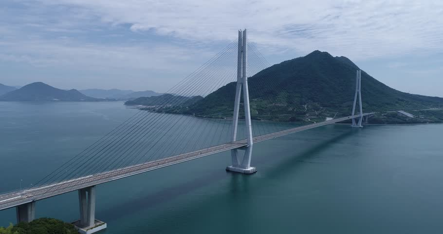 Omishima Bridges in Seto Inland Sea, Japan