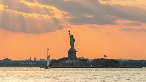 Statue of Liberty, Sunset Video, Day to Night Timelapse, 4K, from Red Hook, Brooklyn, New York, June 2017