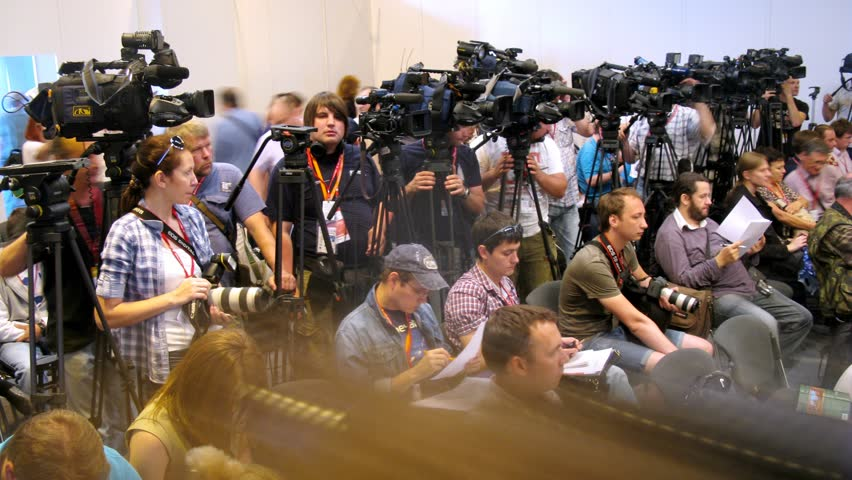ZHUKOVSKY - JUN 25: (Timelapse View) Representatives of press navigate out press conference on second forum TVM 2012 on airdrome Ramenskoe, on Jun 15, 2012 in Zhukovsky, Russia