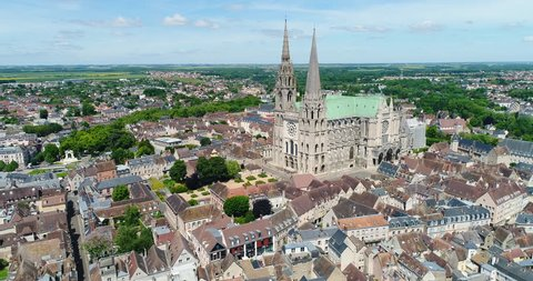 France, Marne, Reims, Aerial view of Notre-Dame de Reims cathedral, listed as World Heritage by UNESCO, 4K, UHD (4096X2160)