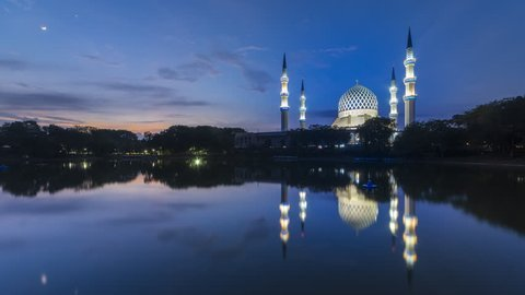 Beautiful Sunrise Time Lapse with reflection at a Mosque in Shah Alam, Malaysia. 4K.