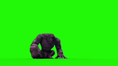 Gorilla Angry Screams Green Screen 3D Rendering Animation