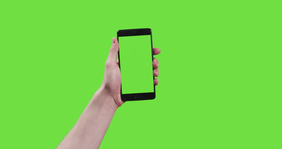 13 young man hand touch gestures with smartphone on green screen, 4k prores footage