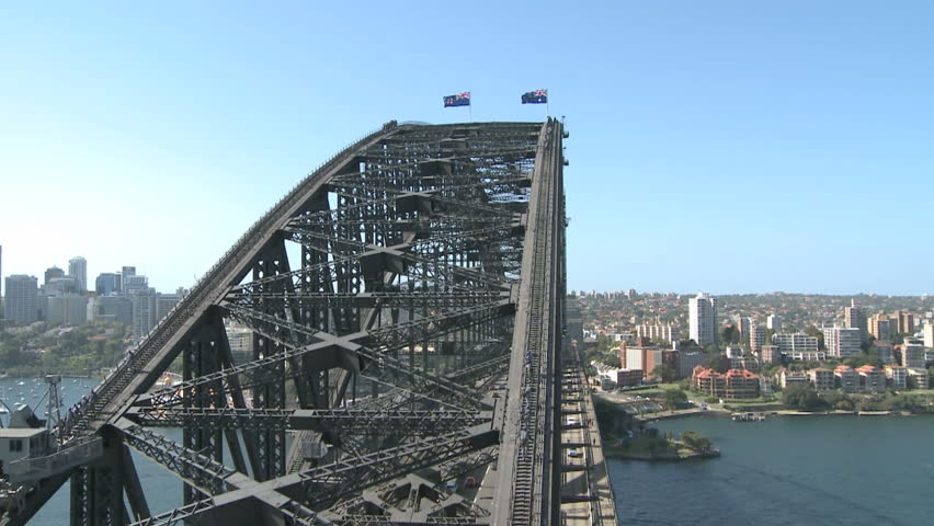 SYDNEY, AUSTRALIA, MAR 22, 2009: People climbing on Top of the Harbour Bridge in