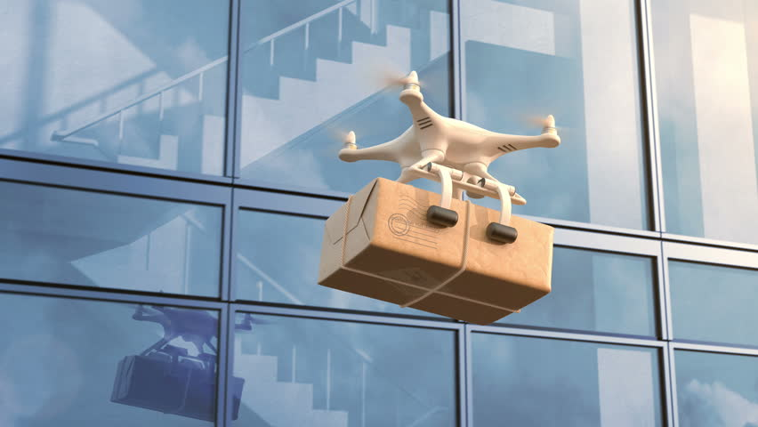 Quadcopter delivers a package against an office building, seamless looping 3d animation, 4K #27753547