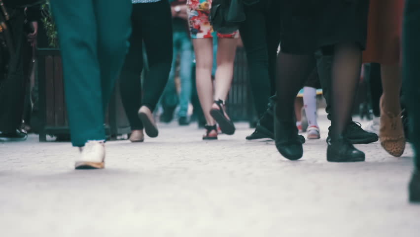 Crowd Anonymous People Walking on the Street. Close-up of Crowd feet. Slow Motion in 96 fps. Shot of Crowded people walking on street. City Crowd. | Shutterstock HD Video #27756247