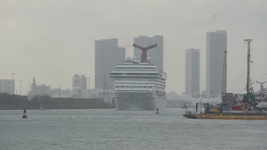 Ocean liner leaving Miami, florida