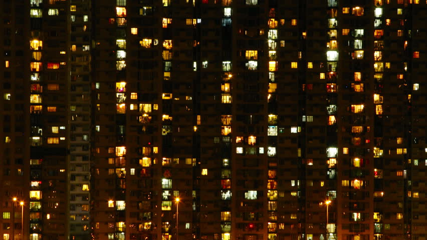High-density apartment block at night, Hong Kong. ( Time lapse ) | Shutterstock HD Video #2776697