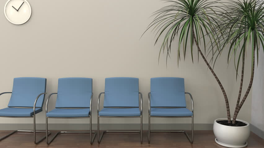 Waiting room at proctologist office. Medical practice concept. 4K clip