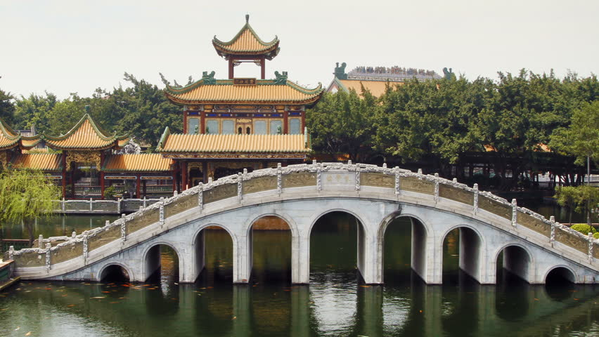 Stone arch bridge and Pavilion in Guangzhou(Canton), Guangdong Province, China.