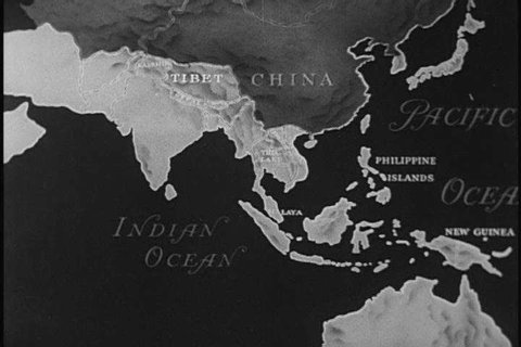 1950s: An animated map shows the Asiatic countries that have gained independence and Mahatma Gandhi and Pandit Nehru are seen in India in the 1950s.