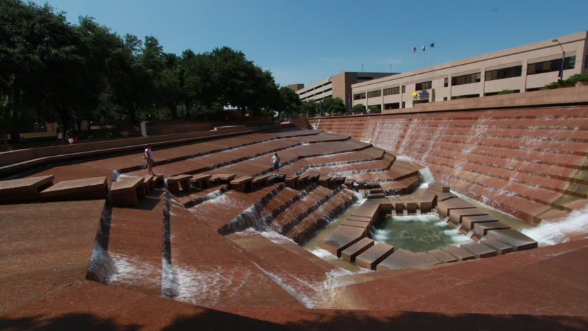 FORT WORTH, TX - CIRCA JUNE 2010: A high angle motion time-lapse the water gardens in Fort Worth, Texas
