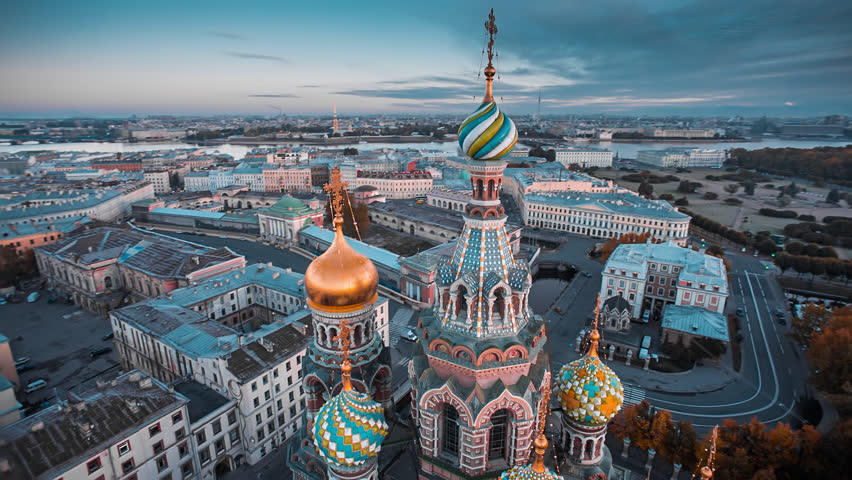 Aerial shot of the Church on Spilled Blood in the historic center of St. Petersburg.