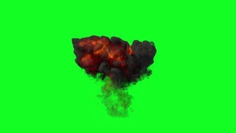 High quality animation of realistic explosion isolated on green background. Easy to isolate for use as an overlay to enrich your action scenes.