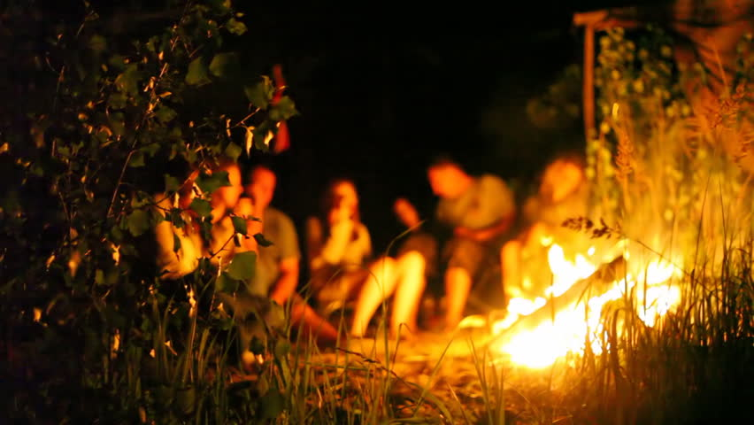 men and women sit at fire and bushes shaking from wind at night