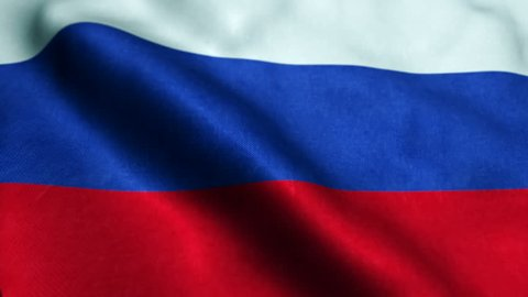 Seamless loop of the Russian flag waving in the wind.