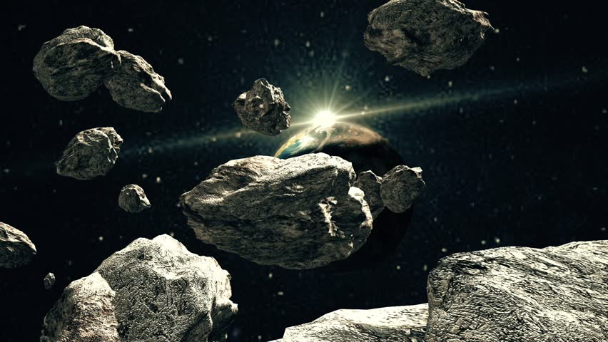 Asteroids are Attacking the Planet. Blue Galaxy and Asteroids. Nebula of the Cosmic Sky. Meteors in space. The space scene. Deep space. Asteroids. Meteors. | Shutterstock HD Video #27899671