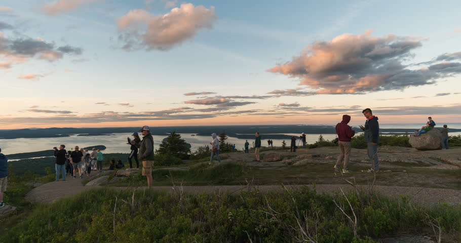 Crowds watching sunset on Cadillac Mountain, Acadia National Park