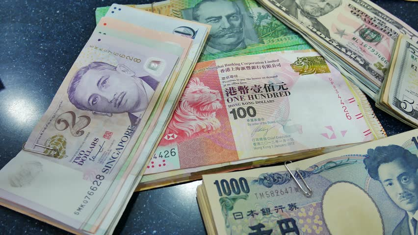 Euro Us Dollar Anese Yen Hong Kong And Singapore Australian On Currency Exchange Counter