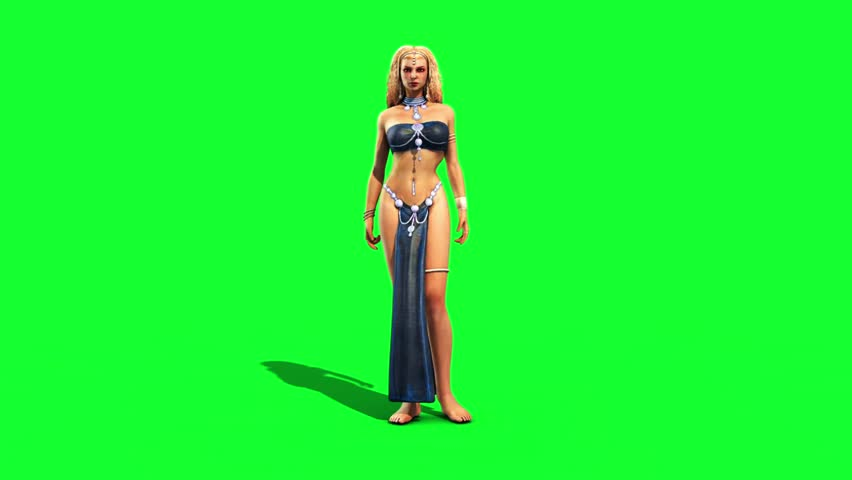 Sexy Odalisque Woman Gesticulates Front Green Screen 3D Rendering Animation