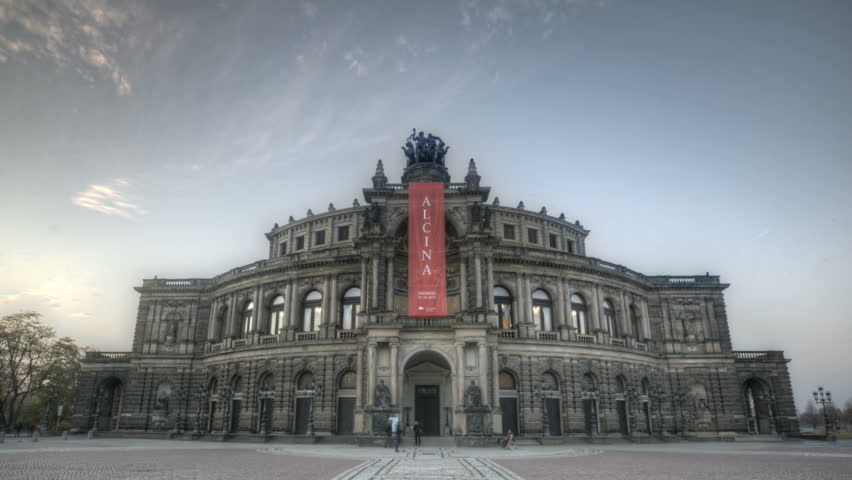 DRESDEN, GERMANY, NOV 7, 2011: Timelapse of the Semper Opera during sunset and twilight in Dresden after the premiere of Alcina