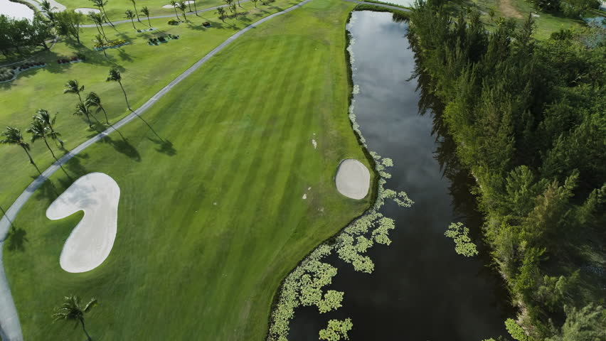 Golf course aerial view. Luxury golf court in Punta Cana, Dominican Republic