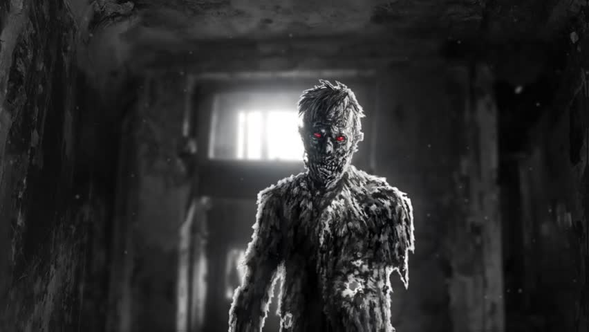 A dark zombie with red eyes entered the room. An abandoned house with a monster inside in black and white colors. Horror character concept. Scary places.