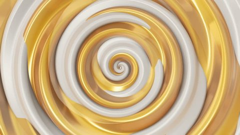 Animation of rotation hypnosis spiral from colorful caramel, glass or plastic. Animation of seamless loop.