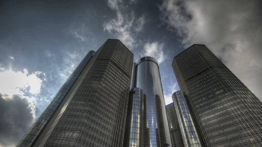 DETROIT, USA, NOV 7, 2011: HDR Timelapse Detroit's Renaissance Center. Home to