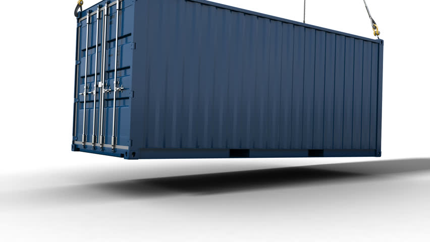 Container Blue with alpha, lowering down of a shipping container attached to wires from a crane or helicopter. The clips includes an alpha  & shadow pass. For integration into live action material.