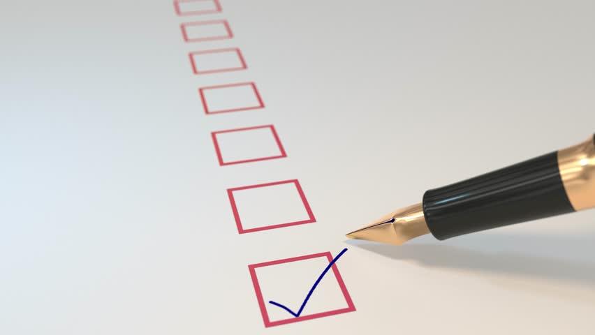Pen ticking boxes fountain survey vote exam tick ticker loop 4K
