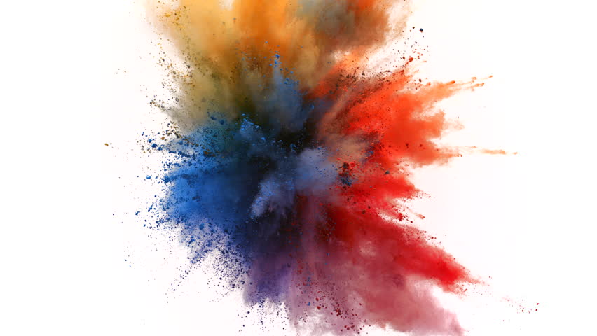 Colorful powder/particles fly after being...