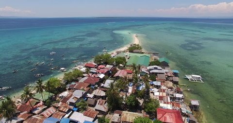Flight over the island. Pandanon island. Cebu. 25.03.2016. The second video is from two. 4K