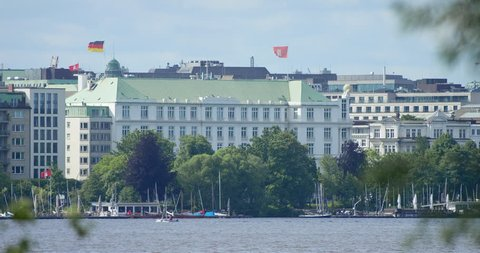 View over the Binnenalster towards an impressive deluxe hotel