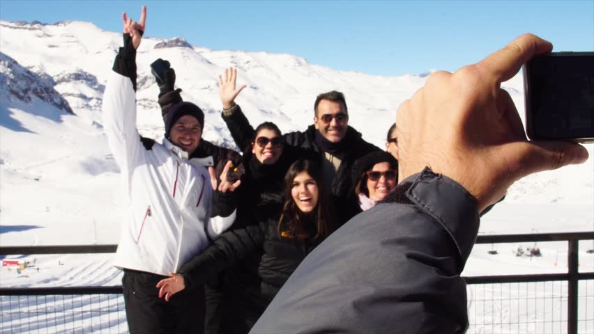 Taking a Selfie of a Family in Valle Nevado, Chile