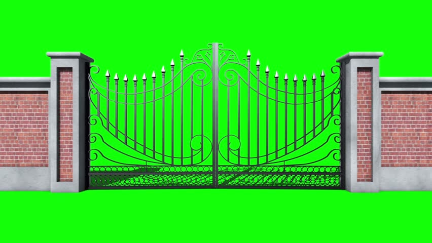 Gate Open In Movement Green Screen 3D Rendering Animation