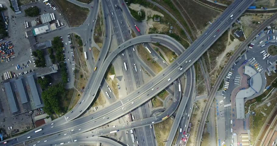 Aerial view of City highways.   traffic | Shutterstock HD Video #28106887
