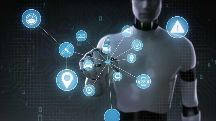Robot, cyborg touching screen, Car internet of things technology icon connect global world map, dots makes world map.2. | Shutterstock HD Video #28166737