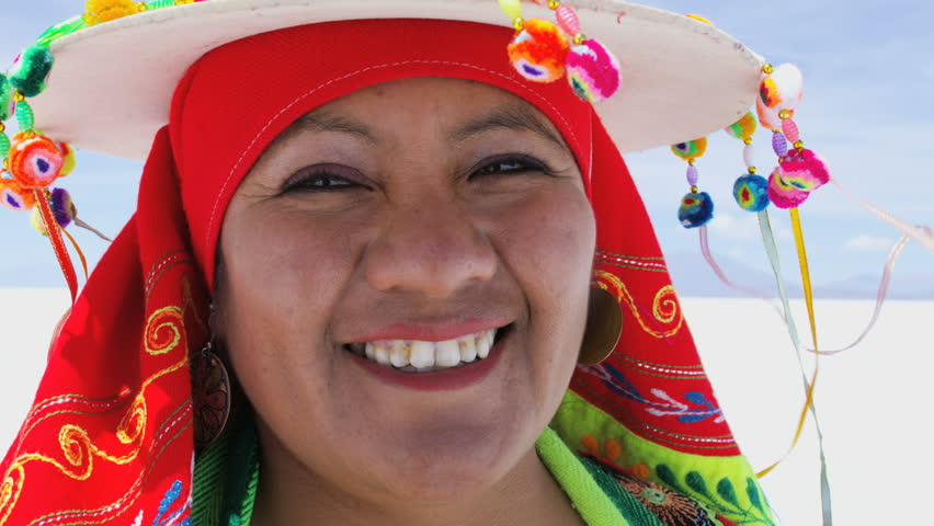 Portrait of happy Latin American Indigenous women in traditional National Headdress and costume on Bolivian Salt flats  | Shutterstock HD Video #28168867