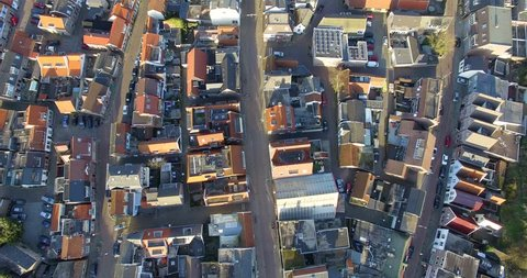 Aerial top view above the roofs of the houses in Holland