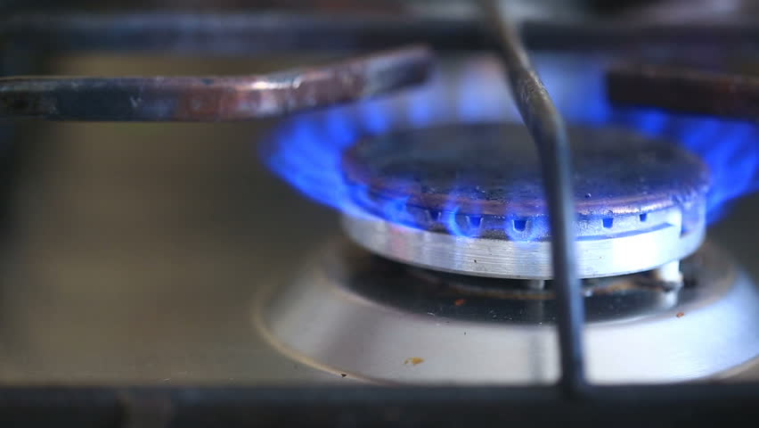 The Igniting Flame Of Gas Stove Close Up