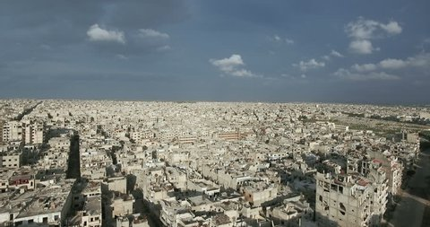 A flight of a drone over the city of Homs in Syria  03/04/2017 - Homs - Syria