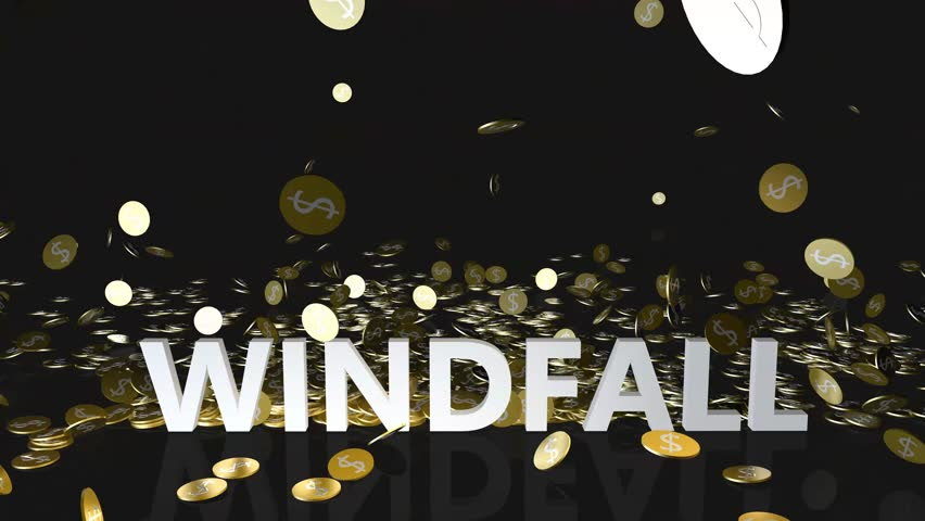 Windfall Concept with Gold Coins Falling From the Sky