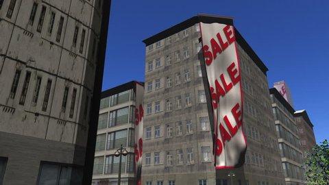 Sale, Sale, Sale banner unfurls down a building
