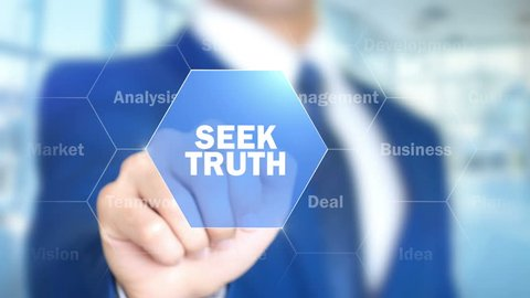 Seek Truth, Man Working on Holographic Interface, Visual Screen