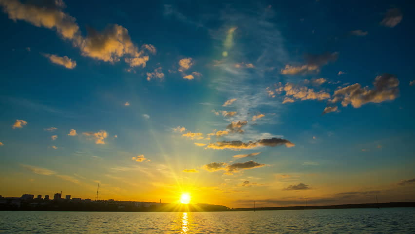 Sunset in the bay, timelapse, Cinemagraph, night sky, video loop,