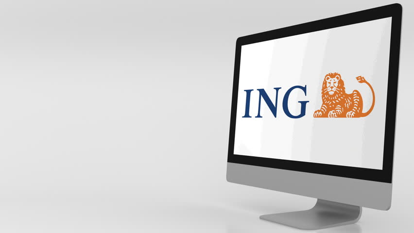 Modern computer screen with ING logo. 4K editorial clip