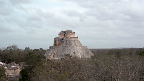 Large pyramid known as the Magicians House in the Mayan ruins of Uxmal, Mexico