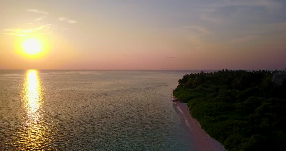 v06520 Aerial flying drone view of Maldives white sandy beach sunset sunrise on sunny tropical paradise island with aqua blue sky sea water ocean 4k #28266763